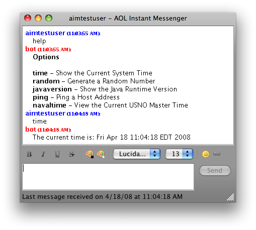 AIM Bot Chat Session on Mac OS X