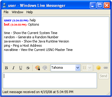 Windowds Live Messenger Bot Chat Session on Windodws XP